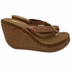 Volatile brown wedge platform sandal size 7